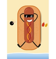 Funny Hot-Dog on beach vector