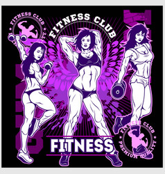 Girls with dumbbells monochrome on grunge vector