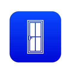 Glass door icon digital blue vector