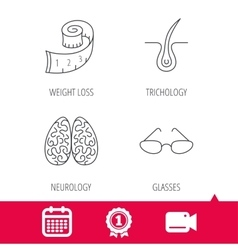 Glasses neurology and trichology icons vector