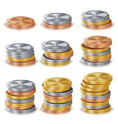 gold silver bronze copper coins stacks vector image