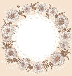 graphic monochrome flowers wreath vector image