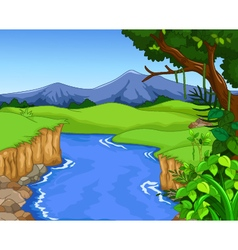 Green forest for you design with river vector