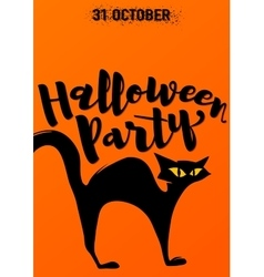 Halloween party invitation with scary black cat vector