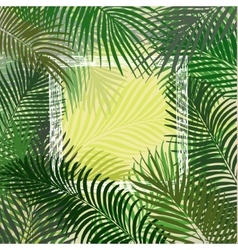 Hand drawn green frame of palm leaves vector