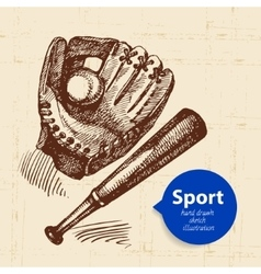 Hand drawn sport object Sketch baseball vector image