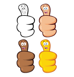 hand giving thumbs up with cartoon face collection vector image
