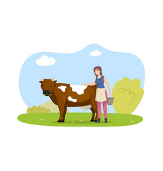 Happy female farmer with cow smiling woman vector