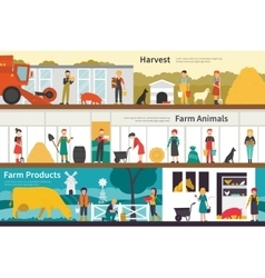 Harvest Farm Animals Products flat interior vector