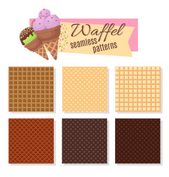 Ice cream waffel cone seamless patterns vector