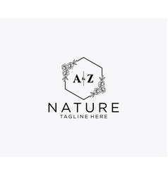 Initial az letters botanical feminine logo vector