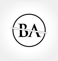 Initial black letter ba logo with creative circle vector