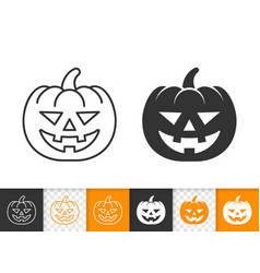 Jack o lantern simple line halloween icon vector