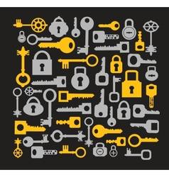 Keys and locks on a black vector image