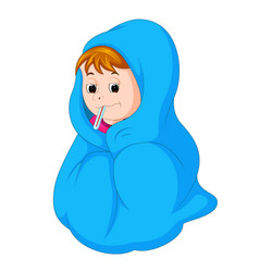Kid under blanket having fever vector