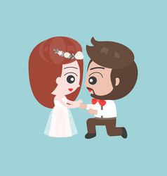 kneeling groom and bride asking marriage cute vector image