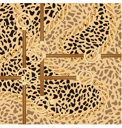 leopard pattern with golden chain and belts for vector image