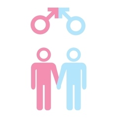 LGBT concept Icon of gay couple with male marker vector