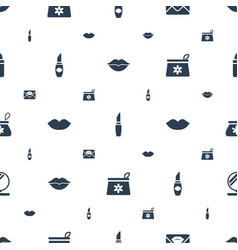 Lipstick icons pattern seamless white background vector