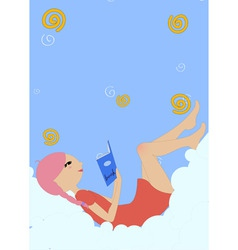 little girl lying on the cloud and reading a book vector image