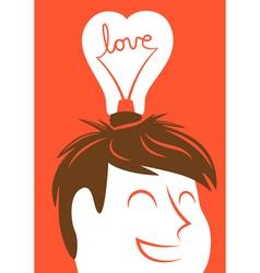 Love lightbulb in shape of heart vector image