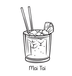 Mai tai cocktail with pineapple vector