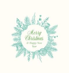 merry christmas abstract botanical logo or card vector image