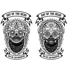 Mexican sugar skulls with floral pattern vector