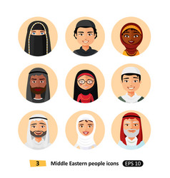 Middle eastern people icons avatar vector
