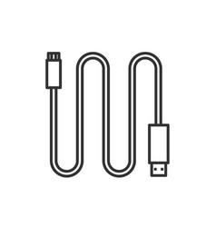 Mini usb cable linear icon vector