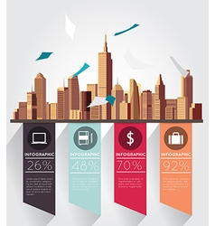 Modern infographic with building background vector