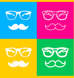 mustache and glasses sign four styles of icon on vector image