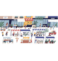 outdoor flower market with happy tiny people or vector image