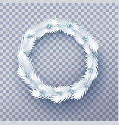 paper christmas wreath with stars vector image