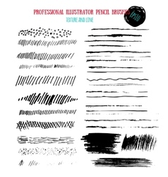 Pencil grunge brushes Abstract hand drawn art ink vector