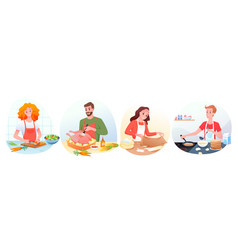 people in chef aprons cook healthy food in kitchen vector image