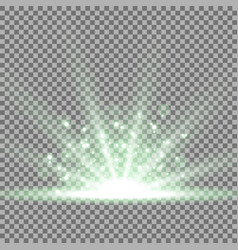 rays of light with sparks green color vector image vector image