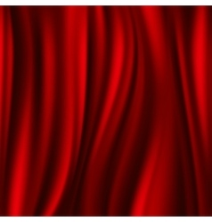 Red silk satin flowing textile wavy abstract vector