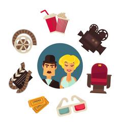 retro cinema movie poster flat vector image