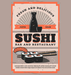 retro sushi bar soy sauce and chopsticks rolls vector image