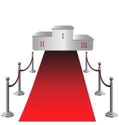 round podium with red carpet vector image