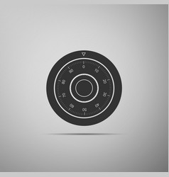 safe combination lock wheel icon isolated on grey vector image