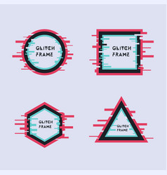 set geometric frame in modern glitch style vector image
