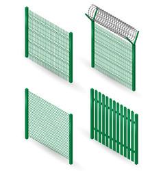 set of metal fences vector image