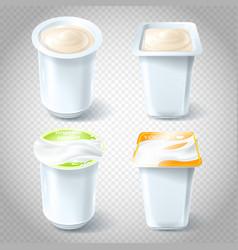 set of of plastic yogurt cups vector image