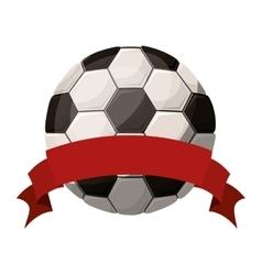 silhouette color with soccer ball and ribbon vector image