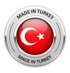 Silver medal Made in Turkey with flag vector image