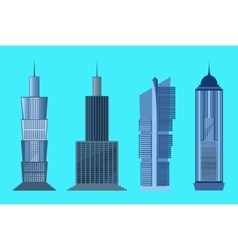Skyscraper icon set isolated on blue background vector
