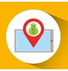 Smartphone e-commerce bag money pin vector