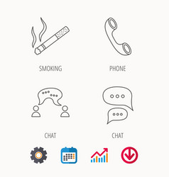 Smoking chat and phone call icons vector